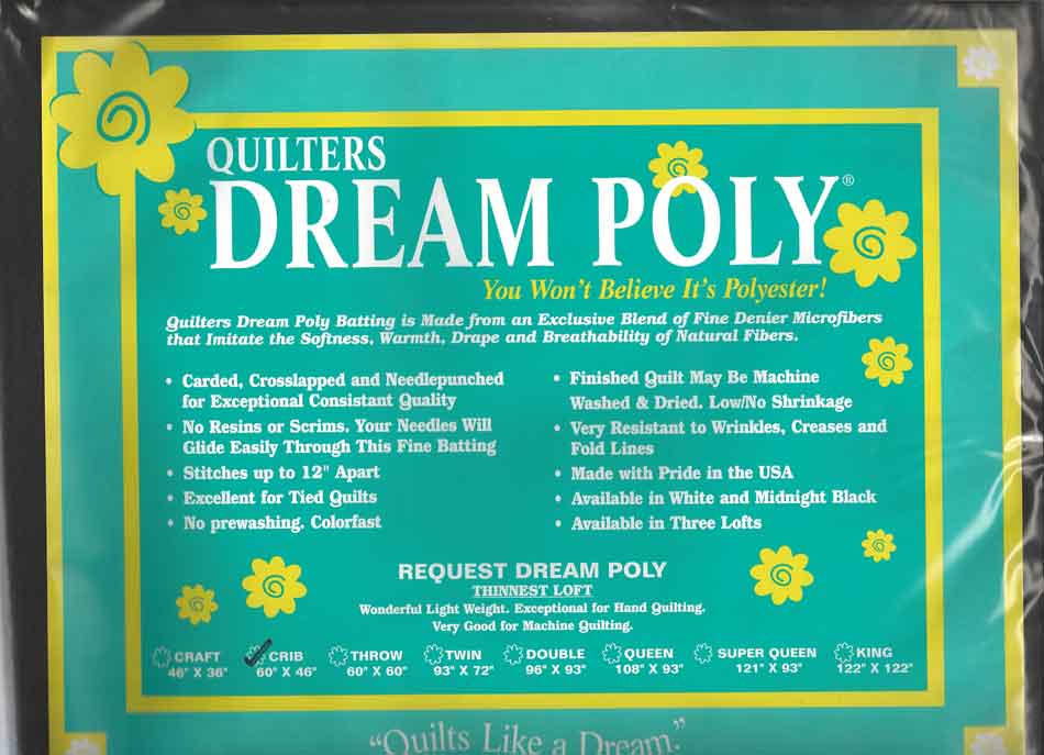 Quilters Dream Midnight Black Quilt Batting Select Poly Mid Loft Craft Size